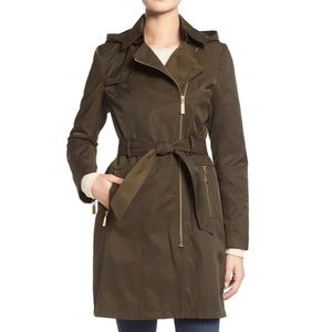 Weather Resistant Trench Coat w Removable Hood